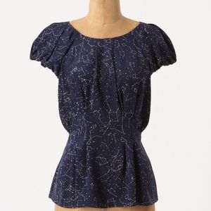 Maeve Trace The Stars silk top, Anthropologie, 2